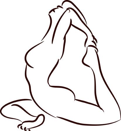 Illustration of pigeon pose