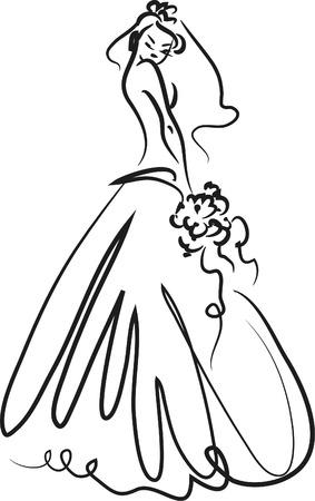 dress sketch: Illustration of Bride