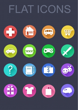 shopping questions: Web flat icons Illustration