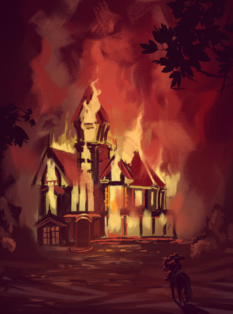 Illustration of house in fire Stock Photo