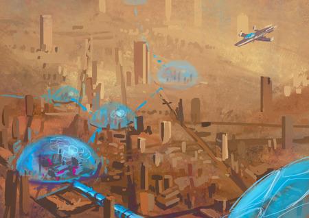 Illustration of Futuristic landscape