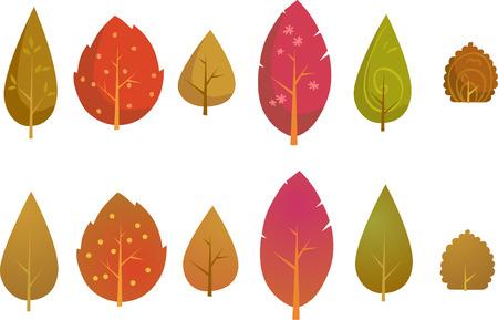 Vector Set of Trees Illustration