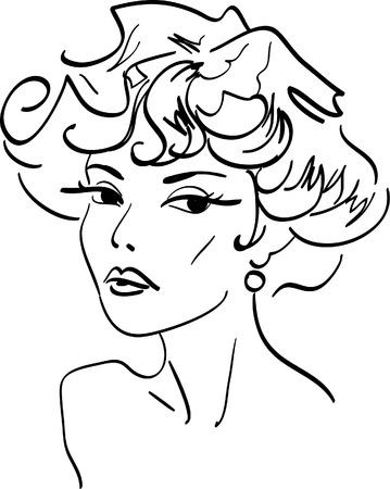 face female: Vector beautiful melancholy girl Illustration
