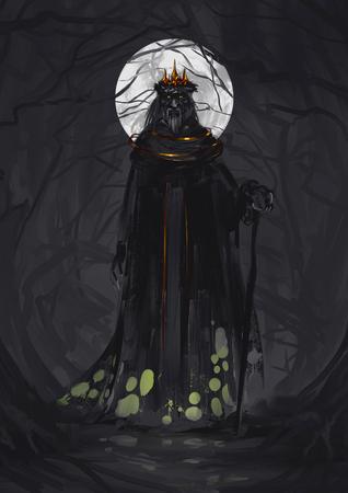 necromancer: Scary Warlock Illustration Stock Photo