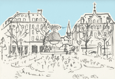 Germany, Munich. Freehand outline ink hand drawn picture sketch