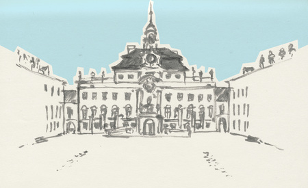 Germany, Ludwigsburg, Palace. Freehand outline ink hand drawn picture sketch Imagens