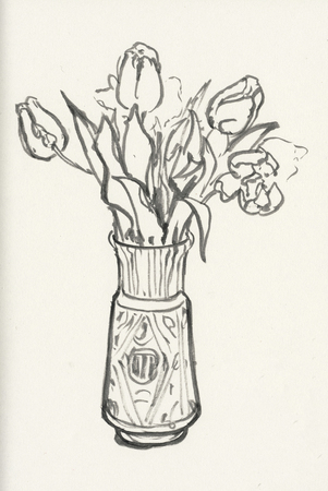 Tulips. Freehand outline ink hand drawn picture sketch