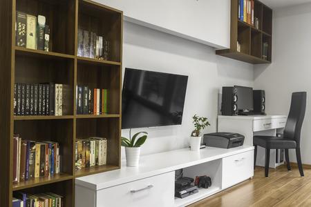 modern living: Beautiful bookshelfs in modern designed living room