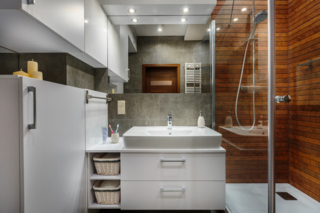 handbasin: Modern and comfortable bathroom in stylish apartment