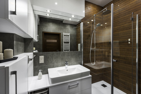 Stylish new bathroom with wooden wall in shower