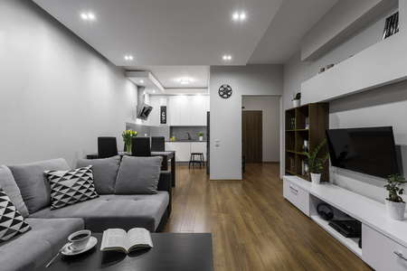 apartment living: Spacious and modern apartment with big living room and kitchen Stock Photo