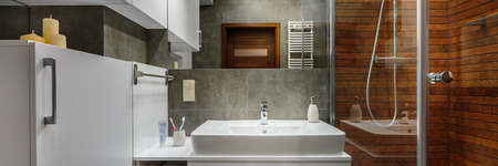 handbasin: Panorama of contemporary and stylish designed bathroom