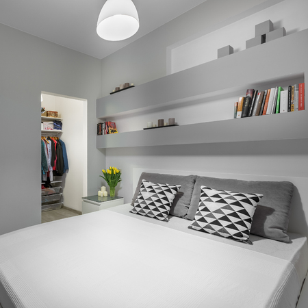 king size: King size bed with pillows in modern bedroom Stock Photo