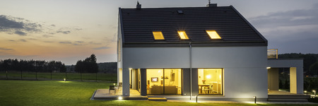 outdoor lighting: New style villa with outdoor lighting, night view panorama Stock Photo