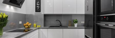 Cucina moderna e confortevole bianca e grigia, panorama