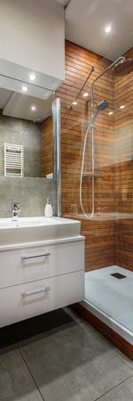 creatively: Creatively designed modern and stylish bathroom, vertical panorama Stock Photo
