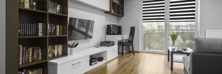 contemporary living room: Panorama of contemporary designed living room interior Stock Photo