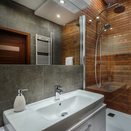 Classic and modern solutions in stylish bathroom Banco de Imagens