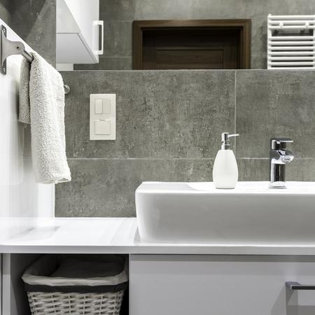 modern bathroom: Well organized modern bathroom with white towels Stock Photo