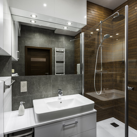 Small bathroom space designed in scandinavian style Фото со стока