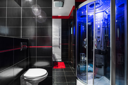 gloss: High gloss black bathroom with toilet and shower with hydromassage