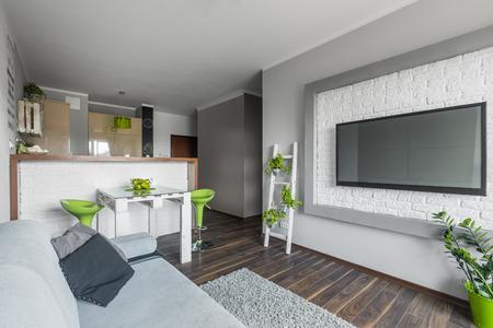 Offene Wohnung Funktionale Küche, Einen Kleinen Essbereich Und Ein ...