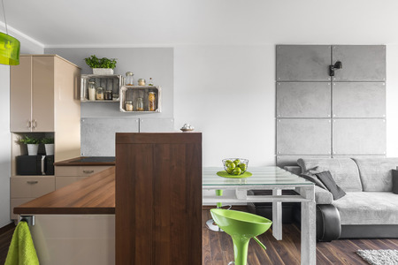 functional: Functional small kitchen open to a light living room with sofa and decorative cement wall effect
