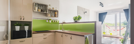 APARTMENT LIVING: New and bright apartment with stylish kitchen and living room with balcony, panorama