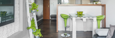 creatively: Panorama of creatively design in grey living room with green decorations Stock Photo