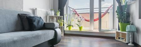 balcony door: Open balcony door in stylish and bright home interior, panorama Stock Photo