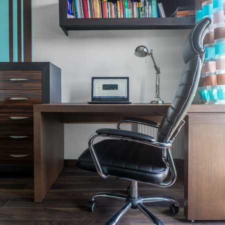 home office interior: Trendy and simple design in home office interior Stock Photo