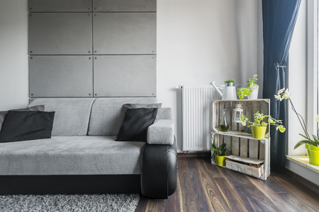 living room wall: Grey living room with sofa, decorative cement wall tiles and DIY stand shelf Stock Photo
