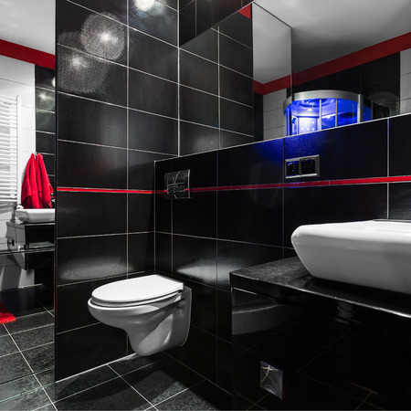 Spacious, Stylish And Modern Bathroom In Black With Red Details ...