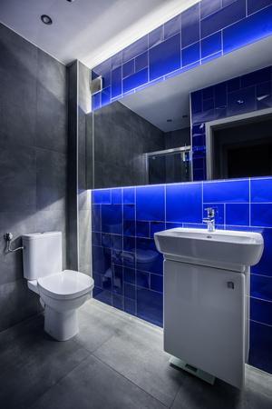 #63274755   Moderne Badezimmer Mit Waschbecken Schrank, Toilette, Spiegel  Und Fliesen In Grau Und Blau
