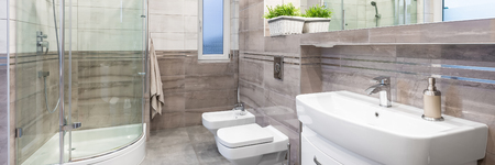 Panorama Of Luxury Design Bathroom In Beige With Basin, Mirror ...
