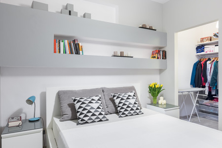 bedroom bed: Modern functional bedroom with double bed and walk in wardrobe