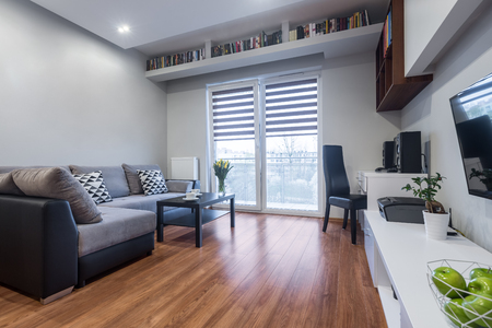 New house interior with window, large sofa, floor panels and white furniture set