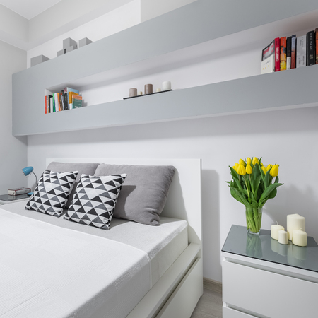 bedside: New light bedroom with double bed and bedside cabinet