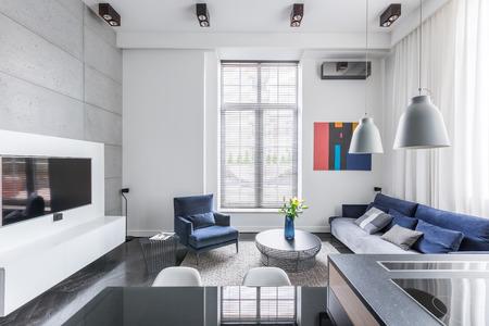 Blanco tv sala de estar con muebles tapizados azul Foto de archivo - 69584836