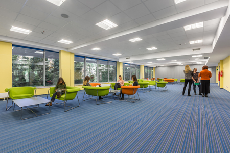 Spacious University Interior With Lounge Area In Modern Style Stock ...