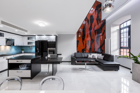 Creatively designed interior of urban apartment with beautiful mosaic