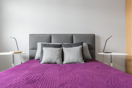 Big Bed With Grey Decorative Pillows And Purple Bedcover In Modern Awesome Grey Decorative Bed Pillows