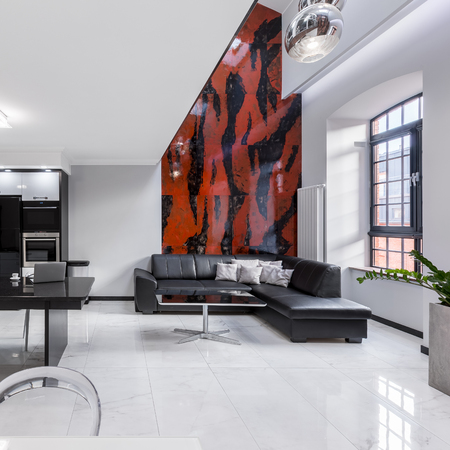 red sofa: Creatively designed interior of urban apartment with beautiful mosaic