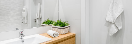 Bright and white bathroom with wooden vanity cabinet, panorama Foto de archivo