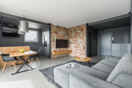 Gray and white apartment in industrial style with open living room and cooking area Standard-Bild
