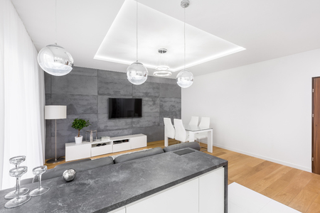 Modern living room with dropped ceiling, tv, lamps and concrete wall