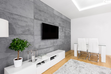 Modern Living Room Tv Stand modern living room with decorative concrete wall, tv, cabinet