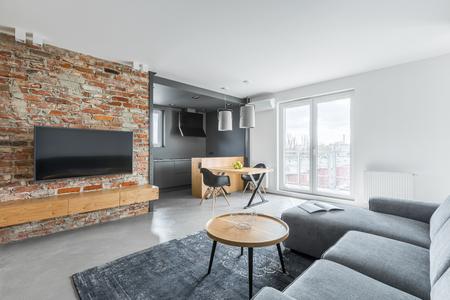 工業煉瓦の壁と灰色のソファー付きのリビング ルーム