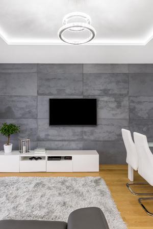Modernes Wohnzimmer Mit Abgehängter Decke, TV, Lampen Und Betonwand ...