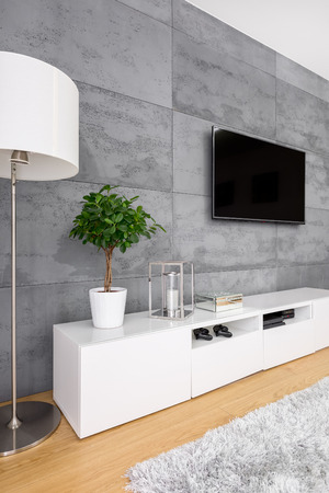 Living room with modern concrete wall, television, lamp and cabinet